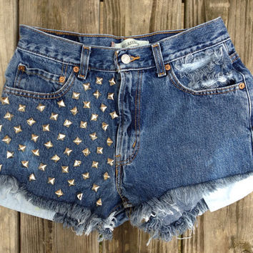 High Waisted Studded Levi's Shorts by CourtAlexxx on Etsy
