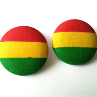 Rasta red yellow green extra large fabric button earrings