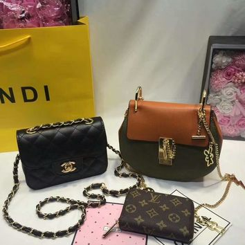 Year-End Promotion 3 Pcs Of Bags Combination (Chloe Bag ,Chanel Mid Bag ,LV Wallet) Colorful