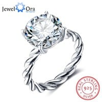 12mm Round Cubic Zirconia 925 Sterling Silver Wedding Jewelry Rings For Women Wedding Gift Ideas(JewelOra RI102325)