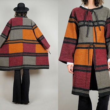 COLORBLOCK vtg 70's striped SWEATER coat blanket jacket jumper tie Bohemian avant garde small / medium