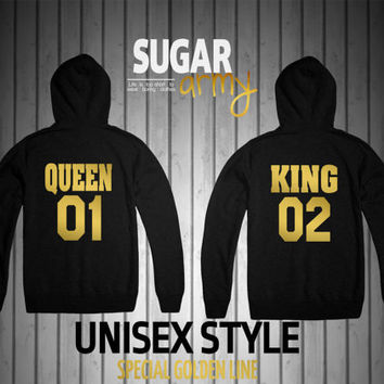 King Queen Hoodies, queen king hoodies, couple hoodies, hoodies for couples, couple tees, tees for couples