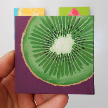 Kiwi Slice Miniature Painting, Hand Painted Canvas, Kitchen Art, Kitchen Decor, Still Life Art, Green and Purple Decor, Fruit Magnets, Kiwi