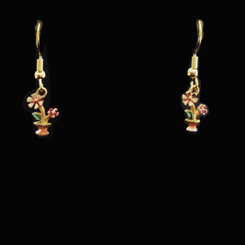 Vintage Small Dangle Earrings - 80s Flower Pot Dangles for Spring - Pierced Earwires on Original Card
