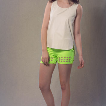 Neon Green High Waisted Cut Out Shorts