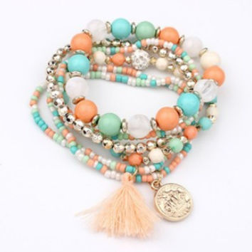 2015 Bohemian Multilayer Candy Color Beads Tassels Bracelet Bangles For Women Elastic Stretch Jewelry Pulseiras Feminina XY-B70