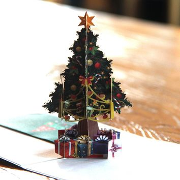 3D Pop up Cards Merry Christmas Origami Paper Laser Cut Postcards Gift Greeting Cards Handmade Blank Christmas Tree 10pcs