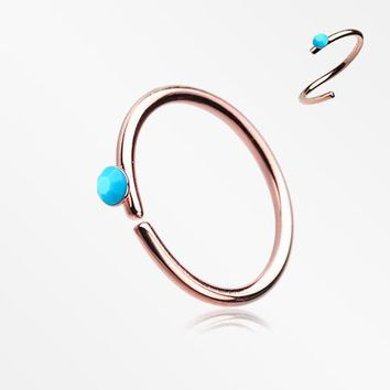 Rose Gold Turquoise Bead Top Bendable Steel Nose Hoop