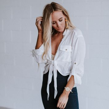 Nicola Cropped Front Tie Blouse - Ivory