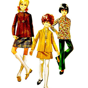 60s Girls Nehru Jacket Mandarin Collar Pattern Skirt Bell Bottom Pants Vintage Simplicity 7923 Sewing Patterns Teens Petite Size 14 Bust 32