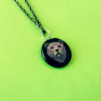 Hand Painted Hipster Grizzly Bear Necklace