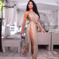 Pofash Summer Autumn Hollow Out Bodycon Womens Jumpsuit 2017 New Sexy Halter Side Split Playsuit Rompers Club Party Jumpsuit