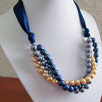 Multi Strand Pearl Necklace, Triple / Three Strand Bridesmaid Necklace with navy blue ribbon, Gold, Navy and Gray pearls with navy ribbon