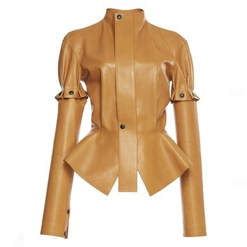 Women Leather Jackets Fashion Plain Pu Slim Stand Collar Sleeve Removable Ruffle Runway Button Patchwork Casual Jacket Coat