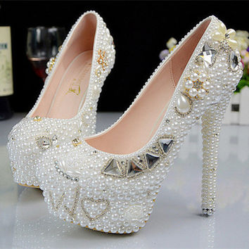 Milanblocks Designer Handmade Bead Wedding Peacock Heels Genuine Leather Bridal Occasions Pumps Shoes
