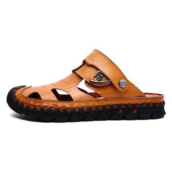 Men Hand Stitching Toe Protective Leather Sandals