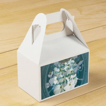 Teal with White Flowers Gable Favor Boxes