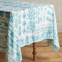 """Puglia Tablecloth by Anthropologie in Turquoise Size: 72"""" X 120"""" Kitchen"""