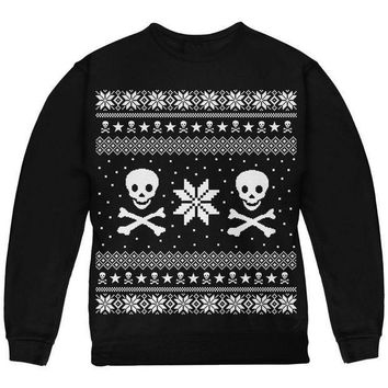 PEAPGQ9 Skull & Crossbones Ugly Christmas Sweater Youth Sweatshirt