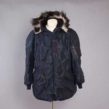 Vintage 50s USAF PARKA / 1950s Korean War Era Air Force N-3A Fur Trim Hood Coat L