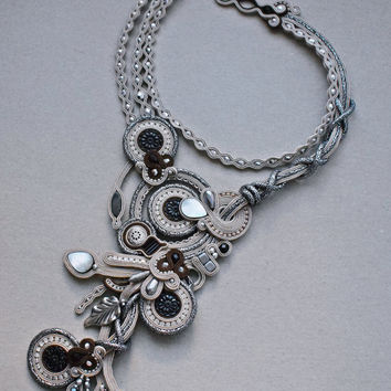 Soutache bridal necklace