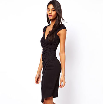 Elegant Charming Knee Length Cap Sleeve Women's Sexy V Neck Bodycon Club Wear Wrap Pencil Dress