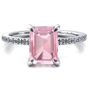 Ezili Emerald Pink Sapphire 4 Claw Prong Micro Pave Diamond Sides Engagement Ring