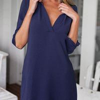 Navy V-neck Half Sleeve Long Blouse