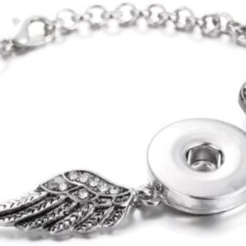 DIY Angel Wings With Diamonds Lobster Clasp Adjustable Bracelet for 18MM - 20MM Snap Jewelry Build Your Own Unique Jewelry