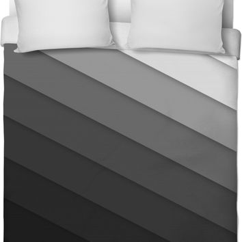 Shades Of Black Grey Striped Duvet Cover