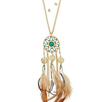 Turquoise Feather Dreamcatcher Jewelry Set