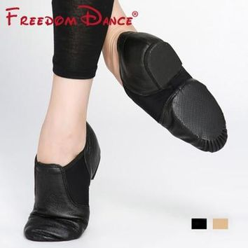 Genuine Leather Twin Gores Stretch Jazz Dance Shoes Slip-On Men Excercise Shoe Women Training Shoes Soft Nude Sneakers All Size