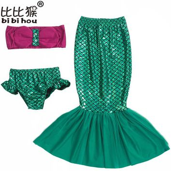 3pcs the little mermaid tail princess ariel dress cosplay costume kids for girl fancy green dress carnival costumes for girls