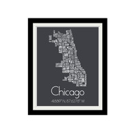 "Chicago Typography Map. Chicago Coordinates. Chicago, Illinois. Neighborhood Map. Minimalist. Home Decor. Gift. City. 11x14"" Print."