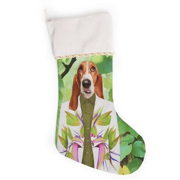 "Natt ""Into The Leaves N6"" Green Dog Christmas Stocking"