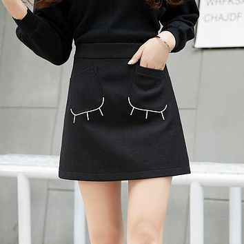 Women Simple Fashion All-match Embroidery High Waist Woolen Show Thin A Word Short Skirt