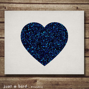 Heart Poster print, dark blue glitter heart, Valentine's day print, Valentines decor, Nursery Printable, printable wall art-INSTANT DOWNLOA