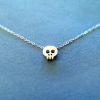 Tiny Cute Skull Pendant Sterling Silver Chain by Simplecrystal