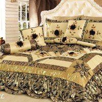 Tache 4-6 Piece Gold Brown and Green Jungle Dreams Patchwork Comforter Quilt Set (BM6182L)