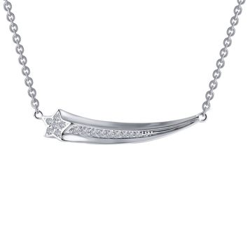 Lafonn Rhonda Faber Green Sterling Silver Platinum Plated Lassire Simulated Diamond Necklace (0.15 CTTW)