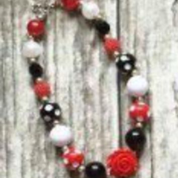 Red & Black Chunky Bead Necklace