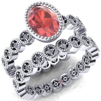 Borea Oval Padparadscha Sapphire Full Bezel Milgrain Diamond Accent Full Eternity Ring