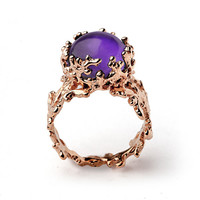CORAL 14k Gold Amethyst Ring, Purple Amethyst Engagement Ring, Unique Gold Ring, Rose Gold Amethyst Ring, Gold Gemstone Ring