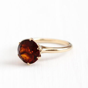 Antique 14k Rosy Yellow Gold Citrine Solitaire Ring - Vintage Size 5 1/4 Art Deco Reddish Orange Gem November Birthstone Fine Jewelry
