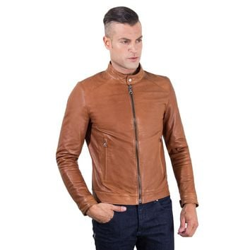 Men's Leather Jacket korean collar two pockets tan color Hamilton