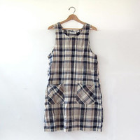 Vintage plaid dress. bib mini dress. jumper dress. cotton and linen dress.
