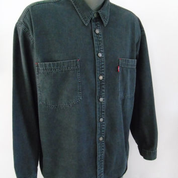 Mens Levi's Two Horse Brand Red Tab Classic Western Cowboy Shirt Long Sleeve Riveted Buttons Faded Black Denim XL Jean Shirt