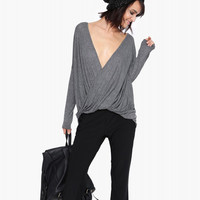 Dark Gey Long Sleeved Deep V-Neckline Wrap Blouse