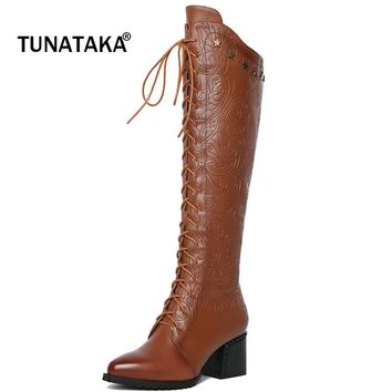 Hot!! Woman's Genuine Leather Lace Up Mid Calf Riding Boots.
