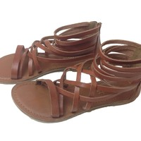Ankle High Brown Leather Strap Sandals